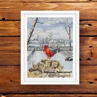 Winter Rooster cross stitch pattern