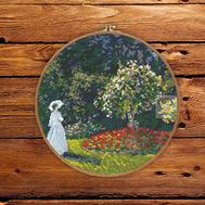 Woman in the Garden by Claude Monet cross stitch pattern