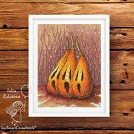 Pumpkin Trio Halloween cross stitch pattern