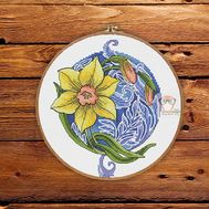 Daffodil round cross stitch pattern