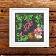 Aloha cross stitch pattern - black canvasAloha cross stitch patternAloha cross stitch pattern