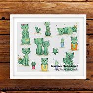 Cactus Cats cross stitch pattern