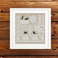 Cats and Lace Roses Sampler cross stitch pattern