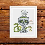 Cup of Death Skull with Green Snake cross stitch pattern