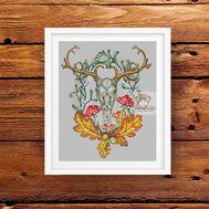 Deer Skull cross stitch pattern