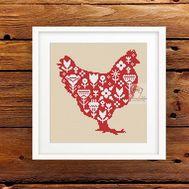 Easter Hen #1 cross stitch pattern