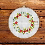 Flower Wreath free cross stitch pattern