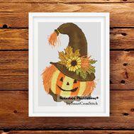 Funny Halloween Pumpkin Free Cross Stitch pattern
