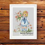 Girl With Bunny cross stitch patternGirl With Bunny cross stitch pattern