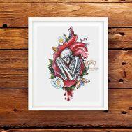 Heart with skeleton cross stitch pattern