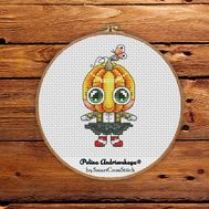 Jessy the Pumpkin cross stitch pattern
