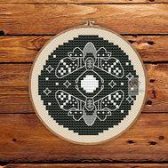 Moth round cross stitch pattern