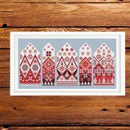 Norway Village Winter cross stitch pattern - red