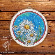 Round Daisy cross stitch pattern