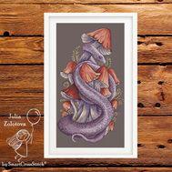 Silver Snake & Mushrooms cross stitch pattern