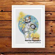 Teddy Bear astronaut Kids cross stitch pattern