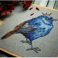 Blue Bird Prince Cross Stitch Pattern framed