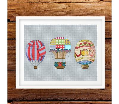 Air Balloons vintage cross stitch pattern