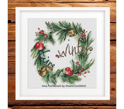 Christmas Cross Stitch pattern Winter Wreath