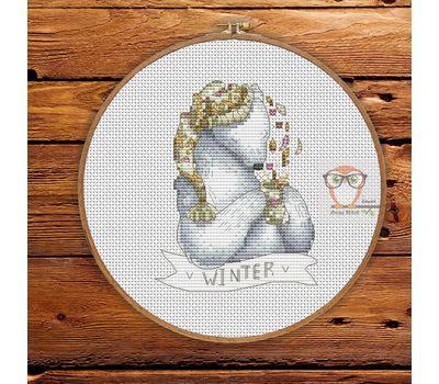 Christmas Cross stitch pattern White Bear}