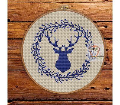''Reindeer Stag'' Christmas cross stitch pattern pdf