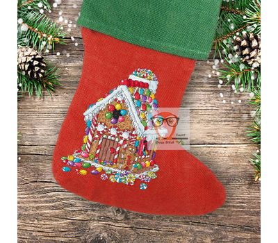 Christmas Stocking cross stitch pattern Gingerbread House
