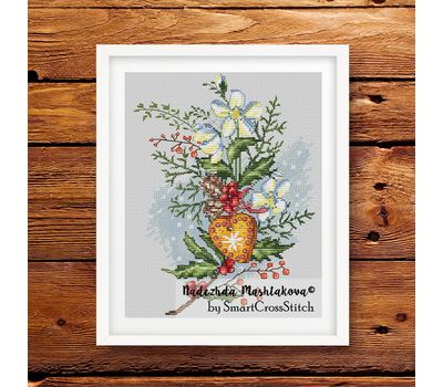 {en:Christmas cross stitch pattern Holiday Bouquet;}
