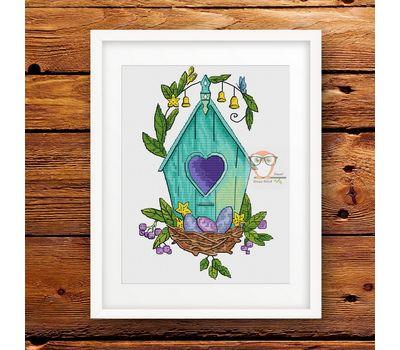 Spring Birdhouse Easter cross stitch pattern