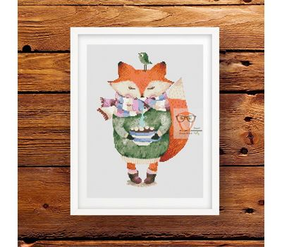 Fox & Coffee cross stitch pattern pdf