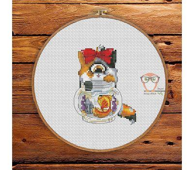 Funny Cross stitch pattern Cyclops Cat & Gold Fish}