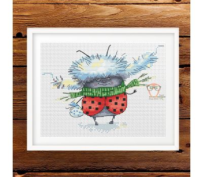 Funny cross Stitch pattern Ladybug in Winter