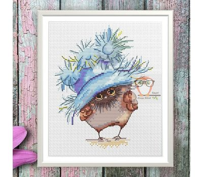 Funny cross Stitch pattern Little Owl