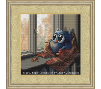 Cozy Autumn Little Owl Cross Stitch pattern