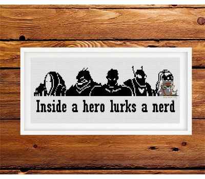 Heroes and Vilains cross stitch funny pattern