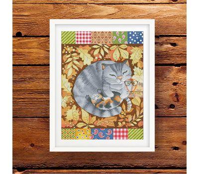 Patchwork Cross stitch pattern Autumn Cats