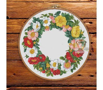 Round Cross stitch pattern Spring Flower Wreath}