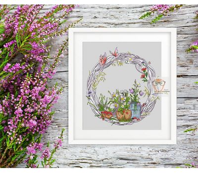 Summer Wreath round cross stitch pattern