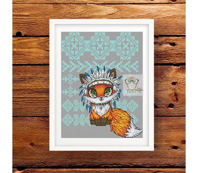 Tribal Cross stitch pattern Little Fox}