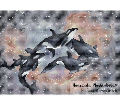 {en:Anime cross stitch pattern Space Whales;}