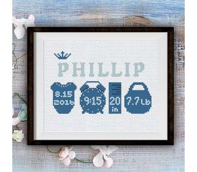 Birth sampler Little Prince cross stitch pattern pdf