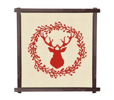 CHRISTMAS DEER BLUE Wreath cross stitch pattern
