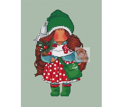 Christmas Stocking cross stitch pattern Little Doll