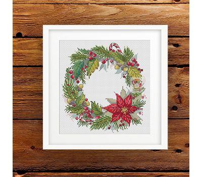 {en:Christmas Wreath cross stitch pattern;}