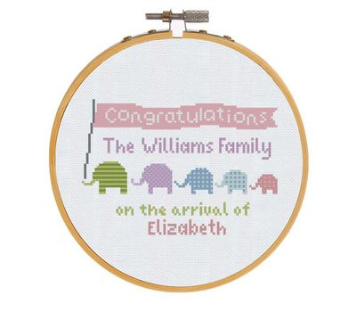 Elephants Baby Girl Sampler cross stitch pattern
