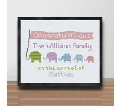 Elephants Baby Sampler cross stitch pattern