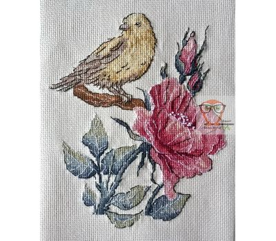 Floral cross stitch pattern Bird & Rose