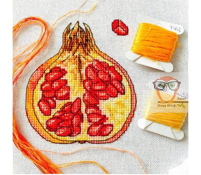 {en:Fruit cross stitch pattern Pomegranate;}