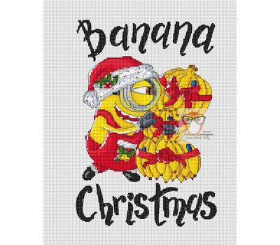 Funny cross stitch pattern Banana Christmas