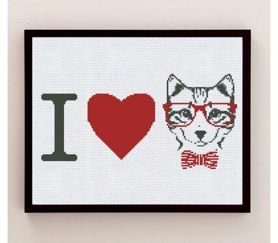 I Love Cats cross stitch PDF  pattern
