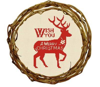 CHRISTMAS DEER Wreath cross stitch round pattern